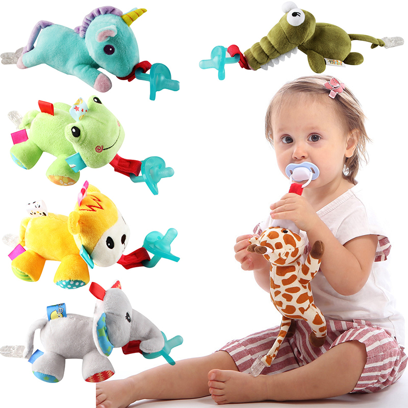 Baby Boy Girl Dummy Pacifier Chain Clip Infant Stuffed Toy Soft Plush Animal Toys Soother Nipples Holder(not Include Pacifier)