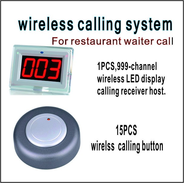 Wireless calling system  restaurant pager including 999-channel LED display receiver with 15 PCS calling  button waiter calling system wireless restaurant pager calling euipment 433 92mhz 1 display 2 wrist pager 35 call button