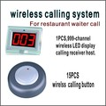 Wireless calling system  restaurant pager including 999-channel LED display receiver with 15 PCS calling  button