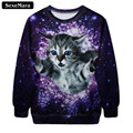 SexeMara 2017 Autumn Cat Galaxy Sweatshirt Kawaii Fashion Harajuku 3D Print Sudaderas Cute Casual All-Match Gothic Pullover G188