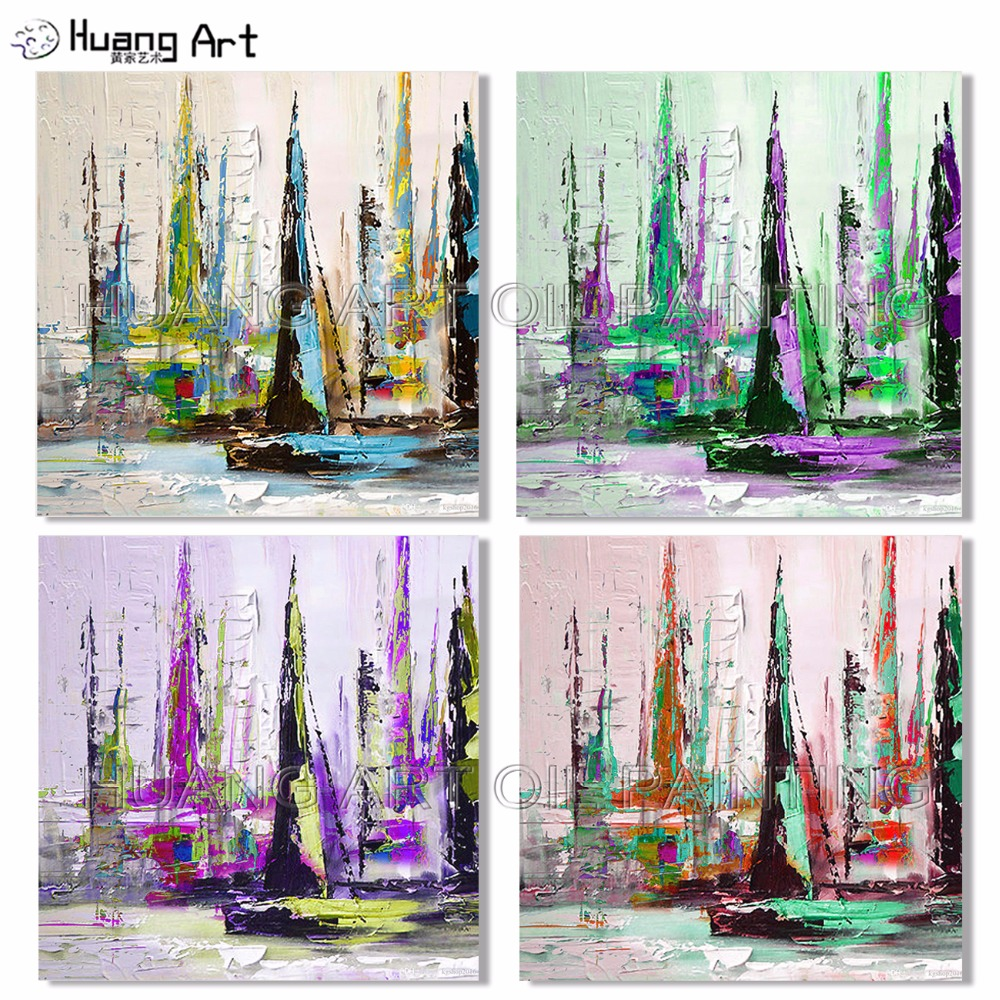 2019 Hand-painted Colorful <font><b>Knife</b></font> <font><b>Boat</b></font> Landscape Oil Painting on Canvas for Decor Modern Abstract <font><b>Knife</b></font> Seascape Wall Painting image