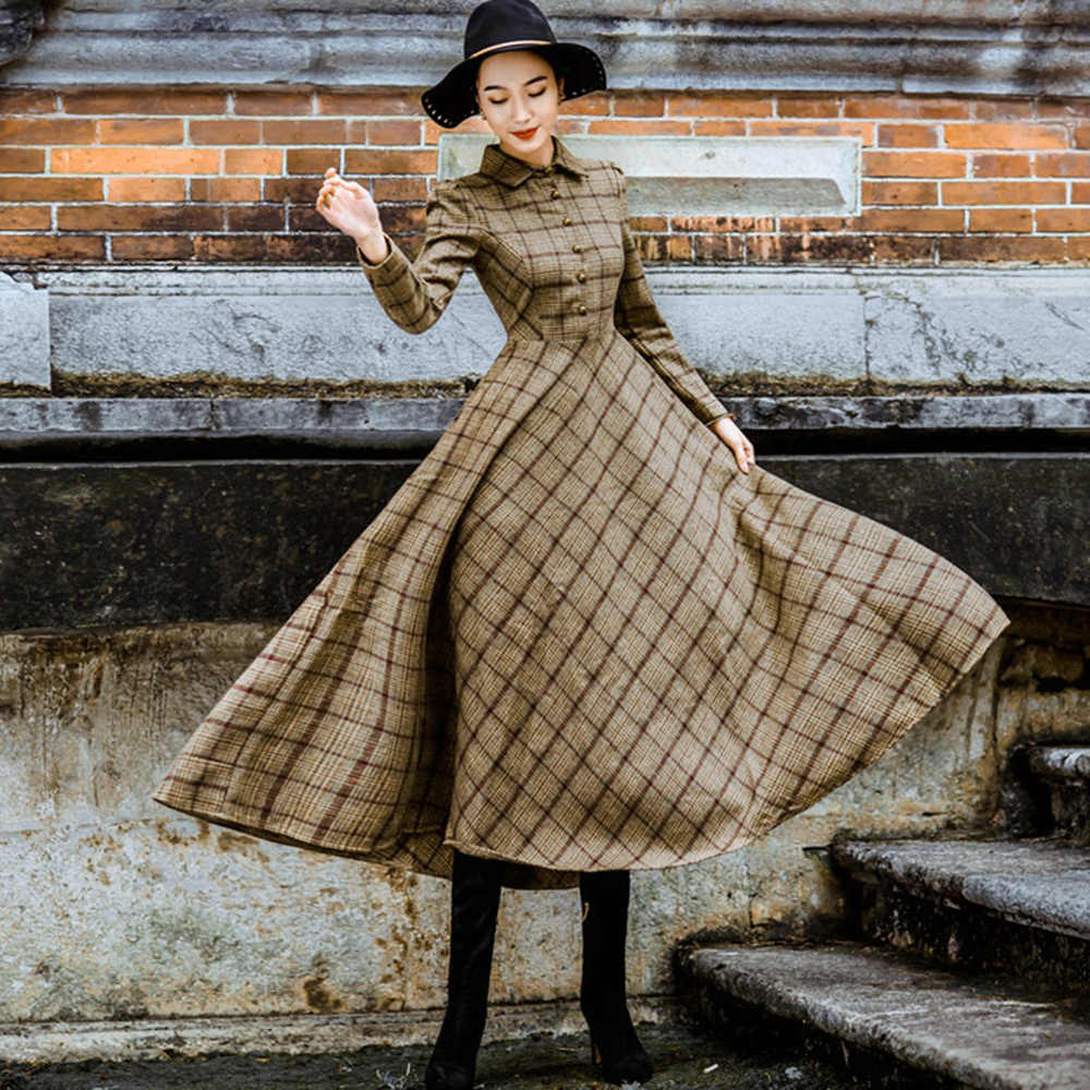 bc7862f4d81 Sisjuly Vintage Plaid Wool Dress Women Winter Thicken Warm Elegant Stylish  Ladies Skinny Retro Long Party