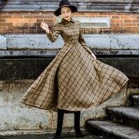 Sisjuly Vintage Plaid Wool Dress Women Winter Thicken Warm Elegant Stylish Ladies Skinny Retro Long Party Shirt Dresses Sale
