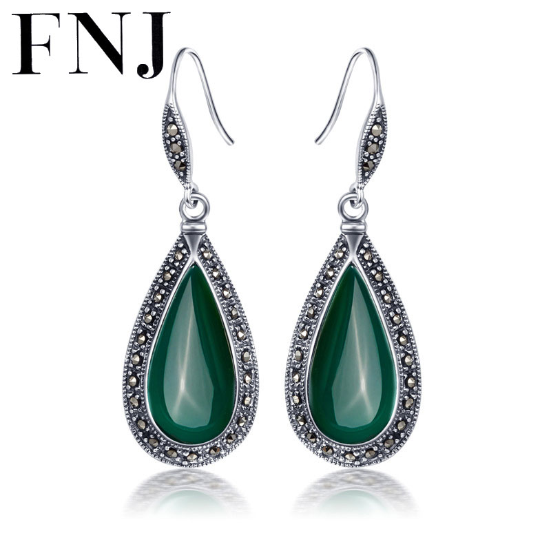8c90bf1a0 FNJ 925 Silver Earring for Women Natural Green Stone S925 Sterling Silver  MARCASITE Drop Earrings Jewelry LE22-in Drop Earrings from Jewelry &  Accessories ...