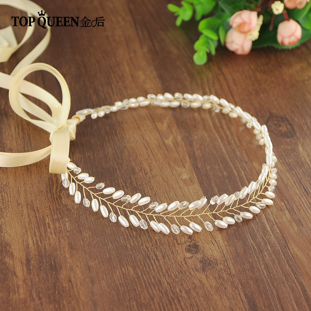 TOPQUEEN HP46 Elegant Two Colors Bridal Wedding Hair Accessories Long Strip Of Pearls Beaded Crown Headband For Bridesmaid