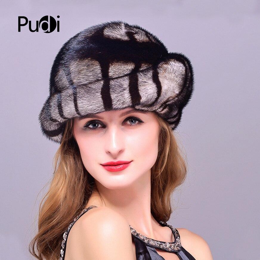 HM001 femmes chapeaux d'hiver véritable véritable vison fourrure chapeau russe femmes hiver chaud fourrure casquette de baseball.
