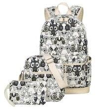 3 шт./компл. Для женщин рюкзак для подростков Обувь для девочек Школьные Сумки Рюкзак Back Pack Холст Симпатичные Сова печати рюкзак набор для детей