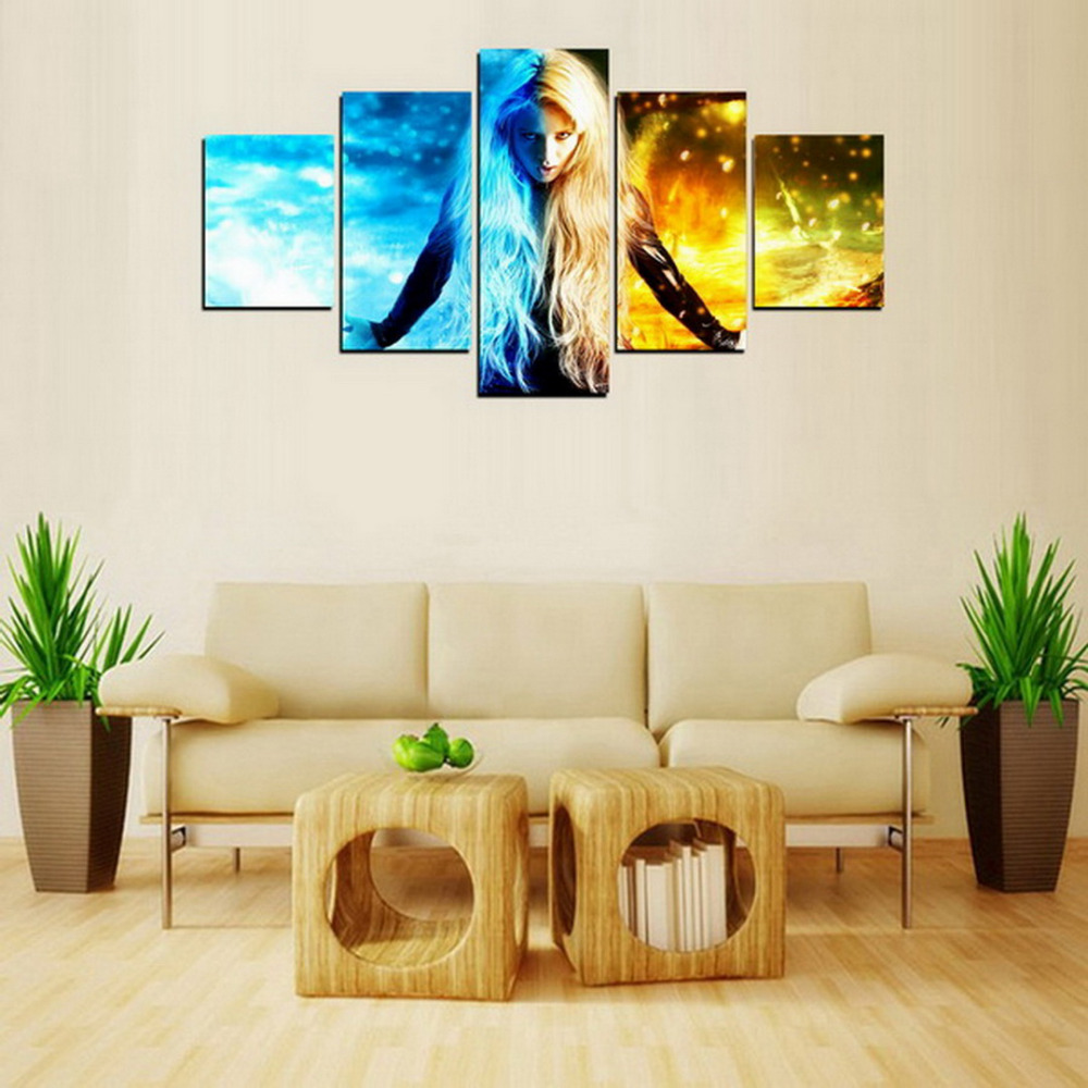 5 Panels HD Canvas Print Wall Art Picture Blue Seawater and Yellow ...