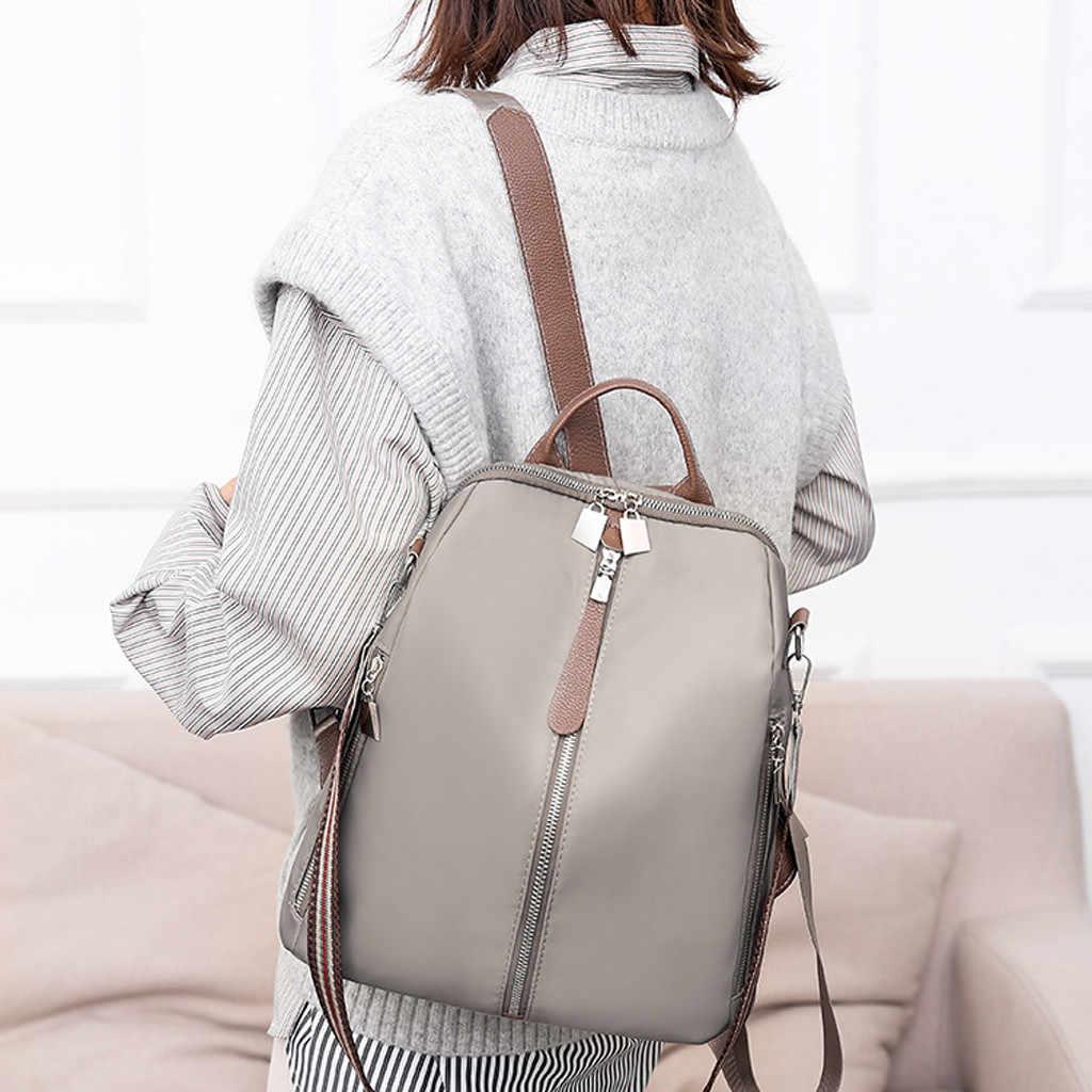 Mochila antirrobo de tela impermeable para mujer, bolso de hombro grande para mujer, Mochila de viaje Casual de estilo Simple de gran capacidad