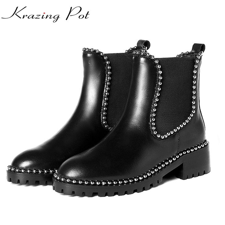 Krazing Pot genuine leather rivets med heels round toe round riding Chelsea boots fastener women slip on beading ankle boots L72 2016 autumn winter new arrival genuine leather women boots med heel round toe solid black rivets slip on ankle boots