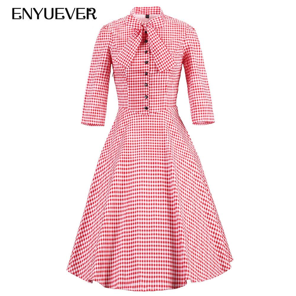 Enyuever Autumn Plaid Dress Plus Size Retro Swing Pin Up Elegant Sleeve  Rockabilly Women Party Vestidos Vintage Dresses 50s 60s