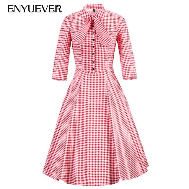 Enyuever Autumn Plaid Dress Plus Size Retro Swing Pin Up Elegant Sleeve  Rockabilly Women Party Vestidos Vintage Dresses 50s 60s 556002856130