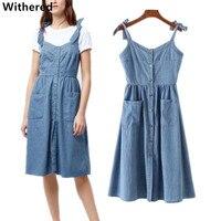 Withered Women Summer Dress 2017 Soft Denim Cotton Casual Collect Waist Denim Tank Long Dress Maxi