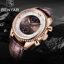 BENYAR 2019 New Men's Watches Business Watch Men Leather Chronograph Military Waterproof Quartz Wristwatches Relogio Masculino megir original quartz watches men chronograph wristwatches top brand business leather men military watch relogio masculino 5005