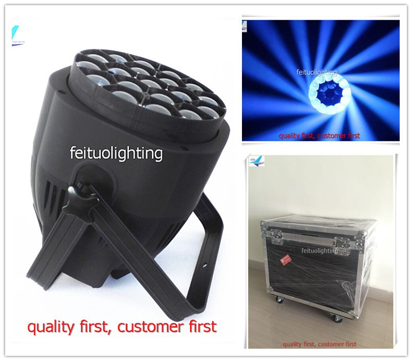 8pcs/lot flycase Lyre Zoom 19x15w Stage Lighting Bee Eye Magic Effect LED Par Light RGBW 4in1 Par Wash Zoom Luces for DJ Disco