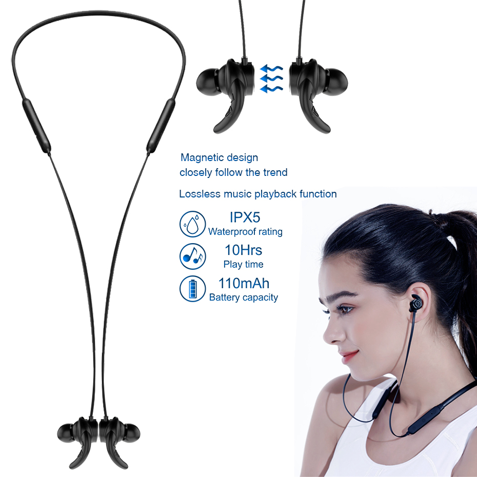 X13 Sports Wireless Bluetooth 4 1 Ear Hook Headsets Noise Canceling Earbuds IPX5 Waterproof Headsets With Microphone for iphone in Bluetooth Earphones Headphones from Consumer Electronics
