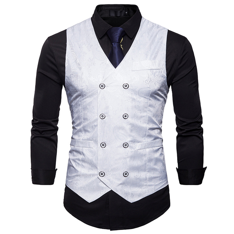 Men's Gentleman Formal Slim Fit Double Breasted Dress Suit Vests Fashion Paisley Print Men Vest Waistcoat Colete Masculino #3