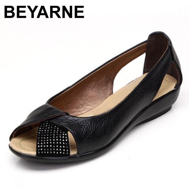 Sandalias de piel auténtica informales para mujer, zapatos de talla grande (35 43), calzado de verano, 2020