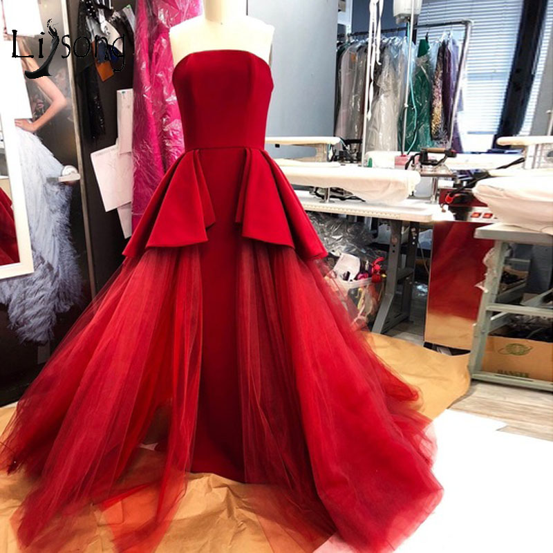 Fashion Red Long Evening Dresses 2018 With Ruffles Tulle