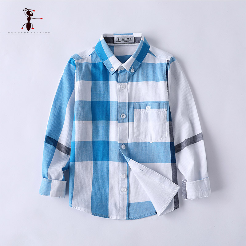 Kung Fu Ant Hot Sale Casual Boys Shirts Turn-down Collar Cotton Plaid Full Sleeve School Blouses Baby Clothing European Style slimming turn down collar plaid short sleeves shirts for men
