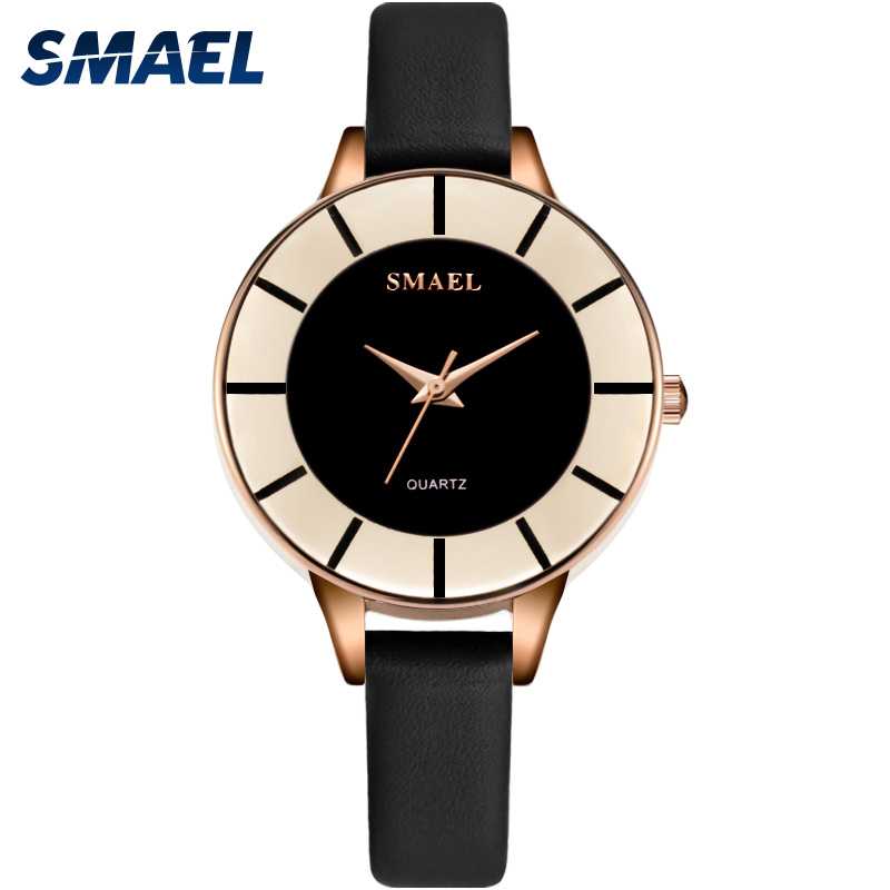 Women Watches Waterproof Rose Gold SMAEL Ladies Watch Leather Quartz Wristwatches relogio frminino Fashion Watches Women Luxury