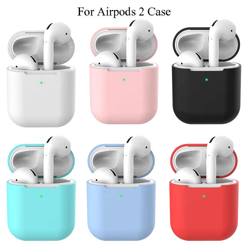 Earphone Case For Apple AirPods 2 Silicone Soft TPU Cover Wireless Bluetooth Headphone Air Pods Pouch Protective For AirPod Case