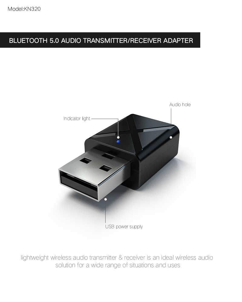 Bluetooth 5.0 Receiver Transmitter MINI 3.5 Mm Aux Stereo Nirkabel Bluetooth Adaptor untuk Mobil Bluetooth Audio Transmitter untuk TV