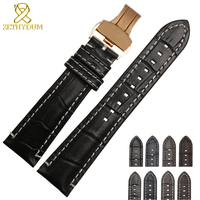 Genuine leather bracelet 22mm double head layer cowhide watchband white stitches for AR1862 AR1878 watch strap wristwatches band