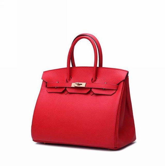 30CM 100% Genuine Leather Classic Women BagHandbag Cowhide Tote Bag Platinum Bag Brand Fashion Embossed leather handbag~16B21