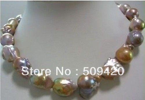 ~ ~ Livraison Shippinghuge Couleur AAA 15-25mm mer du sud baroque collier de perles 18 POUCE