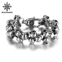 Men Stainless Steel Titanium Jewelry Several Skull Skeleton Silver Black Bracelet 316L Stainless Steel Hip Hop Bracelet
