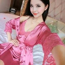 2017 New Spring Autumn Sexy Sleepwear Women Summer Silk Nightgown Robe Set Long Sleeve China Satin Nightwear Lady Sexy Lingerie