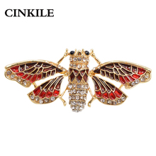 CINKILE 2 Colors Available Enamel Butterfly Brooches for Women Vivid Moth Pin Rhinestone Insect Jewelry Corsage Fashion Autumn