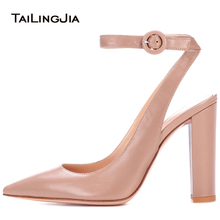 Plus Size Ankle Straps Elegant Nude Chunky High Heel Closed Pointed Toe Ladies Black Pumps Heels Black Slingbacks Shoes Woman women platform heels red high heel pumps round toe chunky heel ankle strap dress heels black suede ladies summer shoes plus size