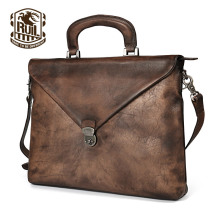 Ruil 2017 Fashion Retro Genuine Leather man bag Top quality Business briefcase soft handle crossbody shoulder travel laptop bag
