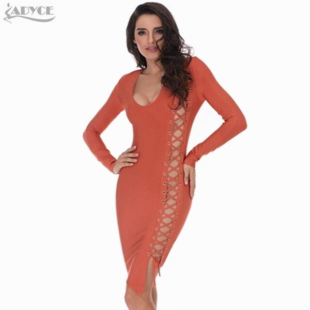 2016 Зимние Сексуальные Женщины Повязки Партии Вечера Платье Orange V-neck Длинным Рукавом Выдалбливают Элегантный Знаменитости Взлетно-Посадочной Полосы Bodycon Платье