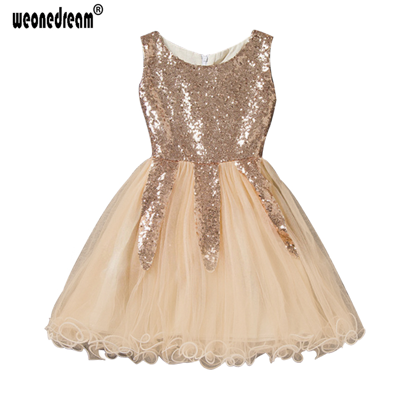 WEONEDREAM Summer New Gold Sequin Flower Girl Dress ...