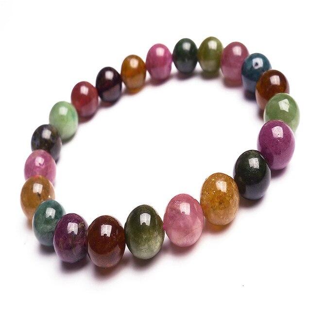 9 mm rodada Bead pulseiras para mulheres Femme Genuine colorido de cristal de quartzo turmalina Natural pulseira pedra frete grátis