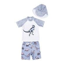 Детская одежда для купания для маленьких мальчиков; комплект из 3 предметов; купальный костюм; футболки и шорты; шляпа; пляжная одежда; купальный костюм