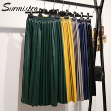 Женские юбки миди с PU кожа Surmiitro, длинные плиссированные юбки с высокой талией, зеленый и черный и желтый цвета юбка в корейском стиле для женщин на осень-зима
