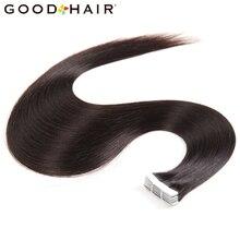 Хорошие средства для волос прямо бразильский уток кожи 100% Пряди человеческих волос для наращивания не Реми Клейкие ленты в 20 шт./упак. Двусторонняя Клейкие ленты