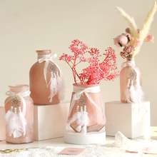 Modern Pink glass vase Beautiful Lovely Mini Small Crafts flower wedding vases for table decorations home decoration