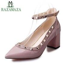 Купить с кэшбэком RAZAMAZA Women's Pumps Sexy Office High Heel Shoes Women New Fashion Rivets Buckle Stilettos Wedding Bridals Shoes Size 34-39