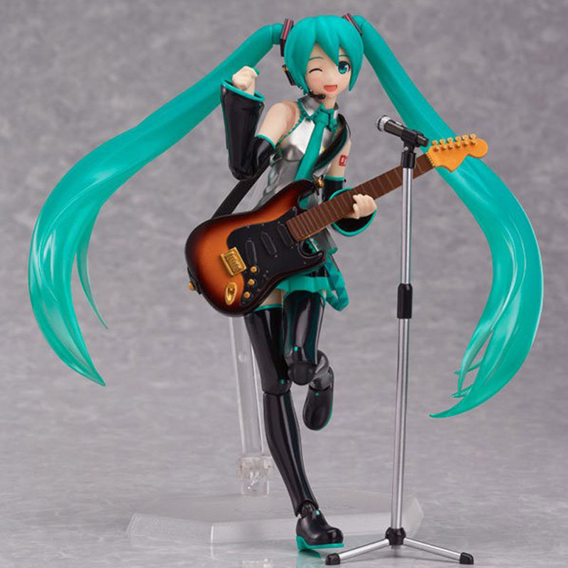 Free Shipping 6 Volcaloid Hatsune Miku with Guitar Ver. Boxed 14cm PVC Action Figure Collection Model Doll Toy Figma 200 free shipping 6 comics dc superhero shfiguarts batman injustice ver boxed 16cm pvc action figure collection model doll toy