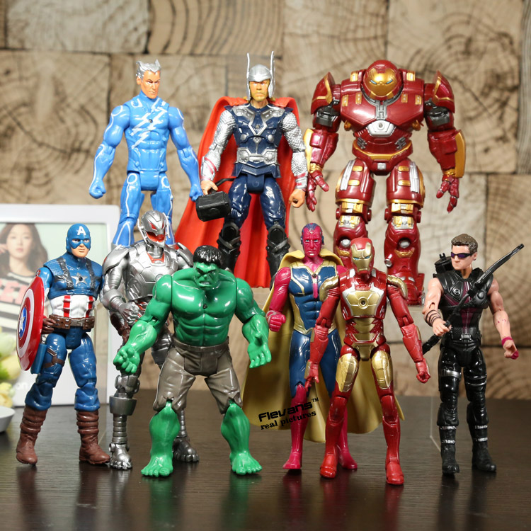 Avengers2 Age of Ultron Hulkbuster Vision Quicksilver Hulk Thor Hawkeye PVC Action Figures Toys 9pcs/set HRFG395 maylar 1500w wind grid tie inverter pure sine wave for 3 phase 48v ac wind turbine 180 260vac with dump load resistor fuction