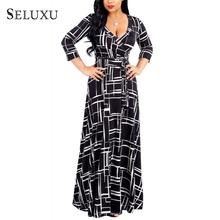 Seluxu Autumn Women Dress Contrast Color Wrap V Neck Belt Big Size Maxi Dress Three Quarter Sleeve Dress Floral Print Dress цены