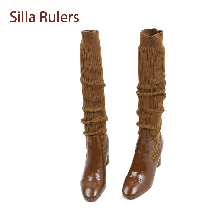 Silla Rulers Fashion Patent Leather Mix Wool Knitted Women Knee High Boots Round Toe Chunky High Heel Stretch Sock Boots Mujer