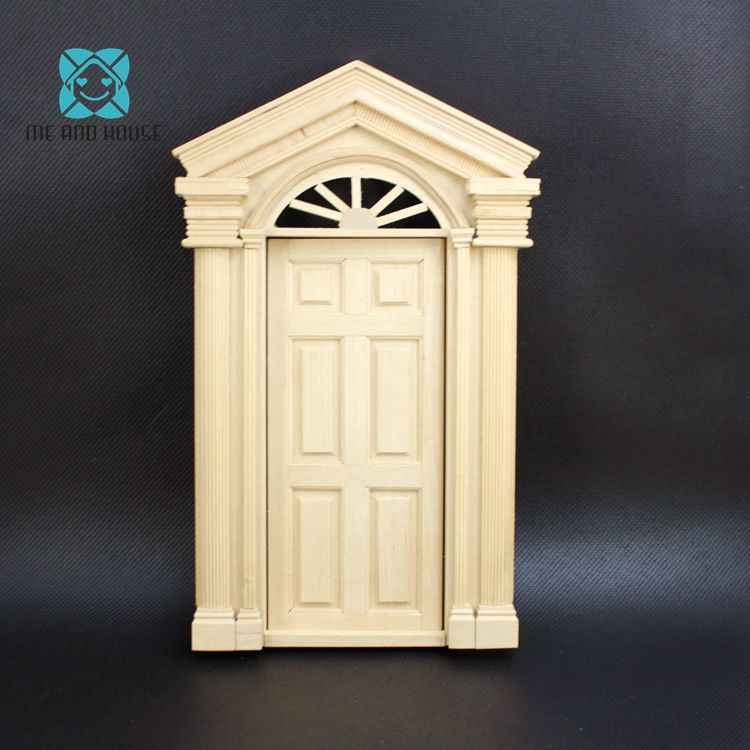 DIY Miniature 1:12 Doll House Material painted burlywood Or White Wooden Luxury Exterior Door