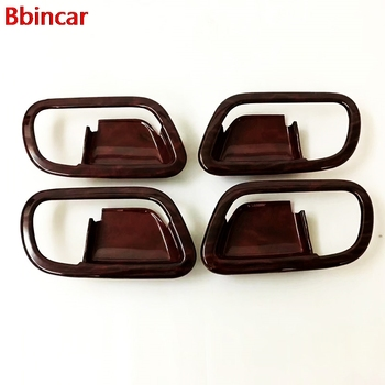 Bbincar Wood Pattern Styling ABS Inner Door Handles Bowl For Nissan Armada Patrol Royale Nismo Infiniti QX56 QX80 Y62 2010-2018 image