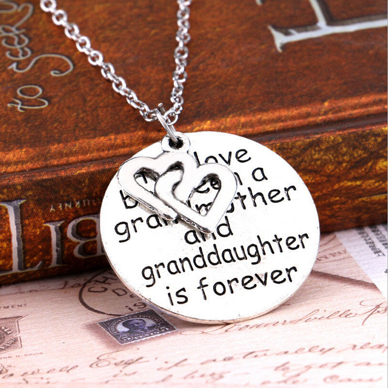 2016 Letter Print Love Grandmother Granddaughter Pendants Necklaces Long Women Double Heart Christmas Gifts kolye collier femme